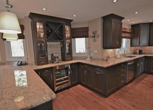 Stunning Dark Stain Cabinets With Stone Countertops Mylen