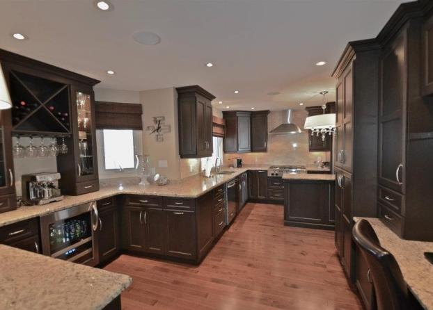 Stunning Dark Stain Cabinets With Stone, How To Stain Kitchen Cabinets Darker