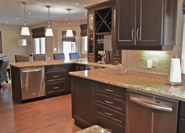 Attractive ... Stunning Dark Stain Cabinets With Stone Countertops ...